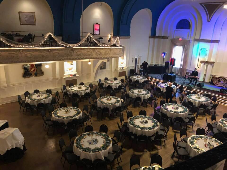Overview of the Adrianna Ballroom Showing the room set up before the gala started